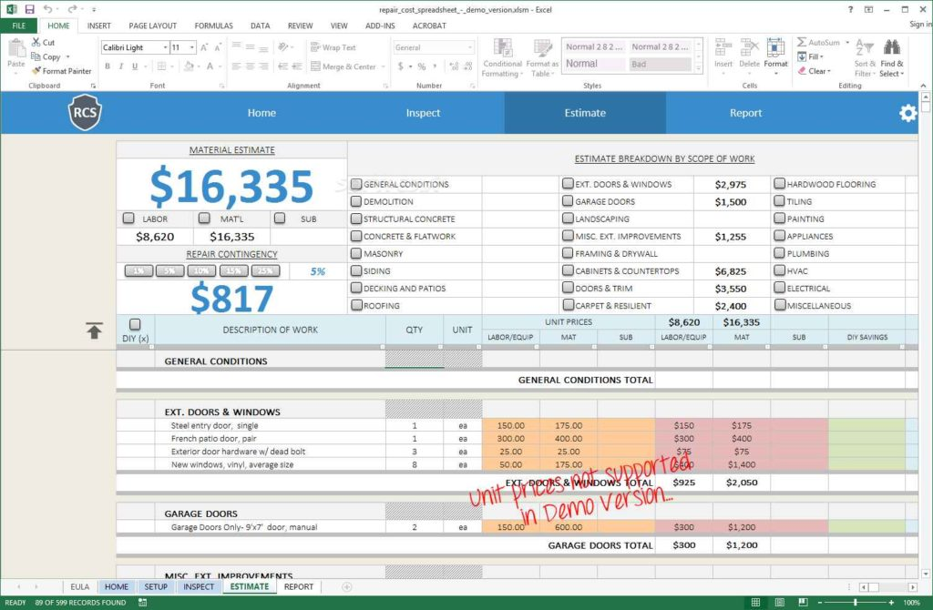 home renovation budget excel spreadsheet