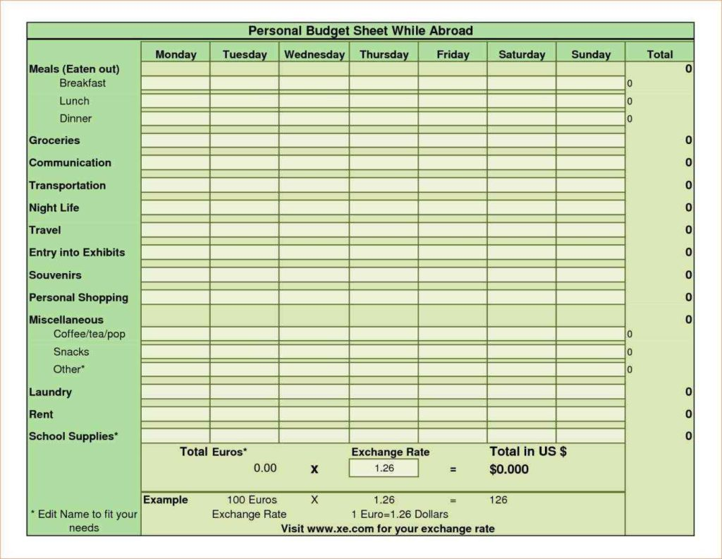 Personal Budget Spreadsheet Templates Sample Personal
