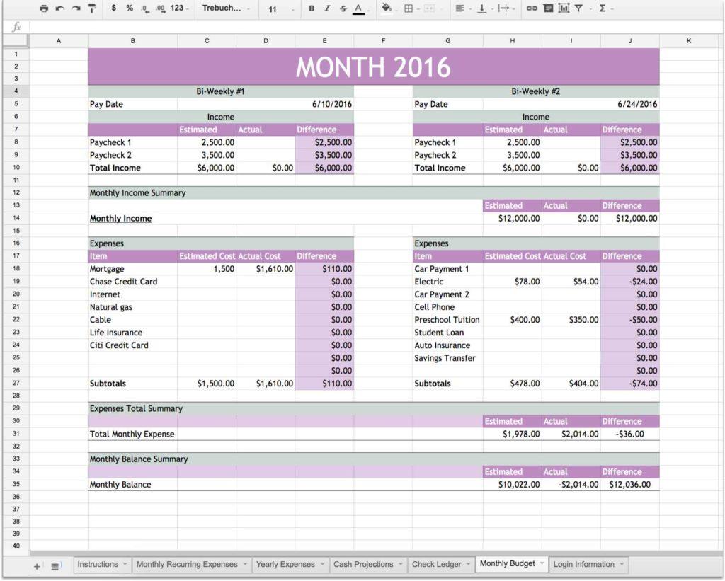 Financial Planning Spreadsheet Finance Spreadsheet Event