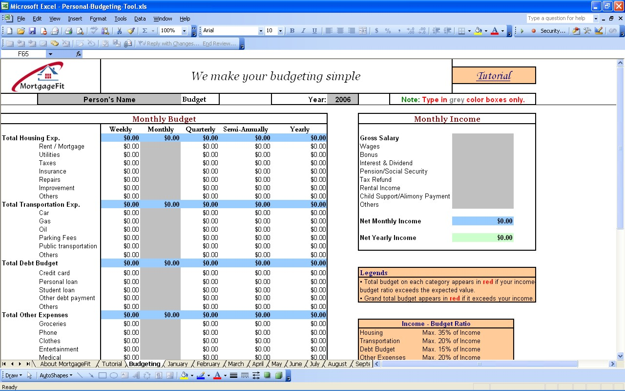 Budgeting Tool Excel Microsoft Spreadsheet Template Budget