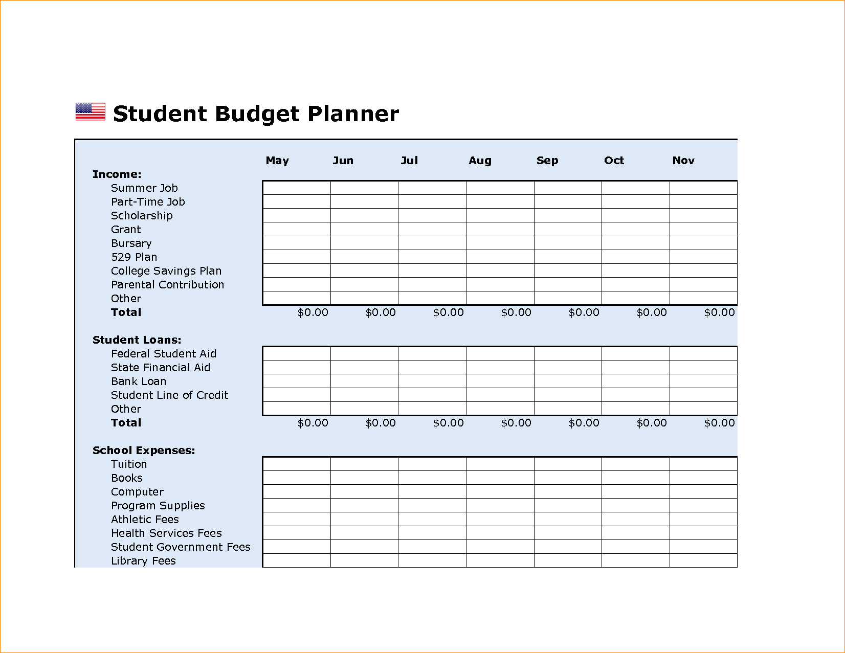 College Budget Template Budget Spreadsheet Spreadsheet