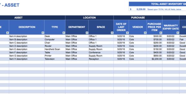 Asset Management Spreadsheet Template 1 Management