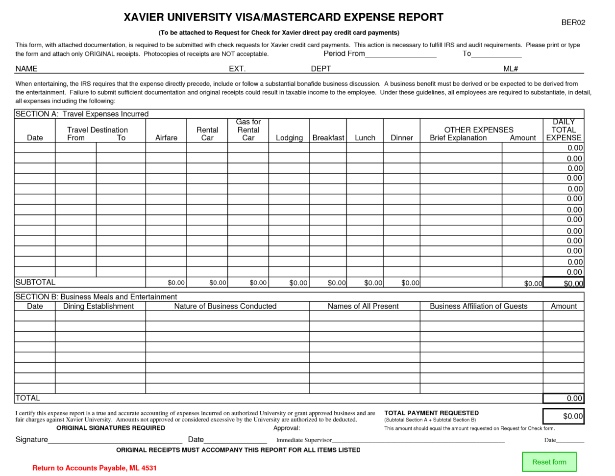 Expense Report Forms Printable Credit Card Expense Report