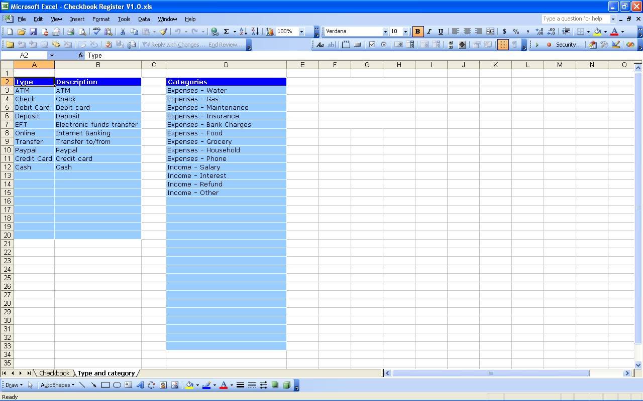 Excel Bank Account Template Microsoft Spreadsheet Template