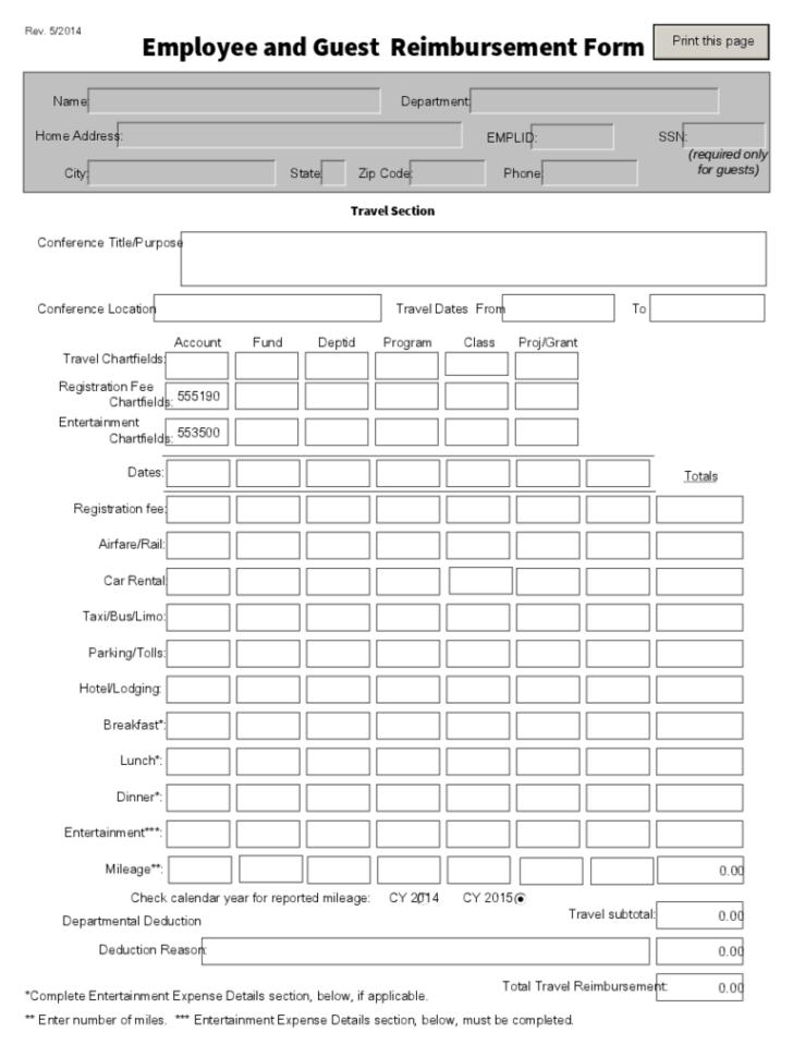 General Reimbursement Form Reimbursement Sheet Template