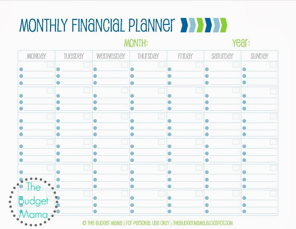 Monthly Financial Planning Finance Spreadsheet Spreadsheet