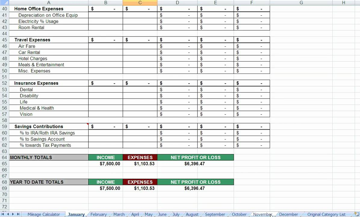 Spreadsheet For Tax Expenses Spreadsheet For Tax Expenses