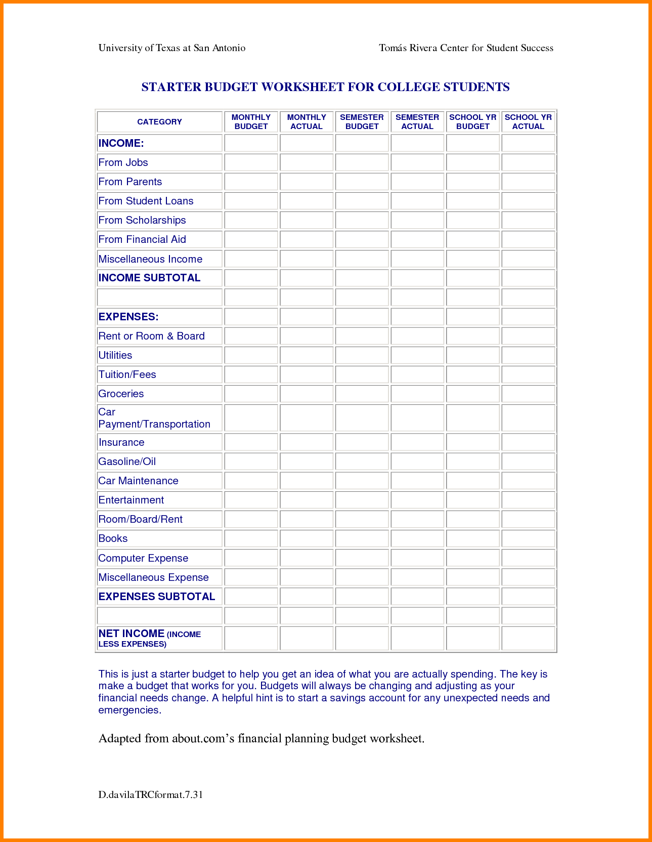 Typical College Student Budget College Budget Template Budget Spreadsheet Spreadsheet Templates