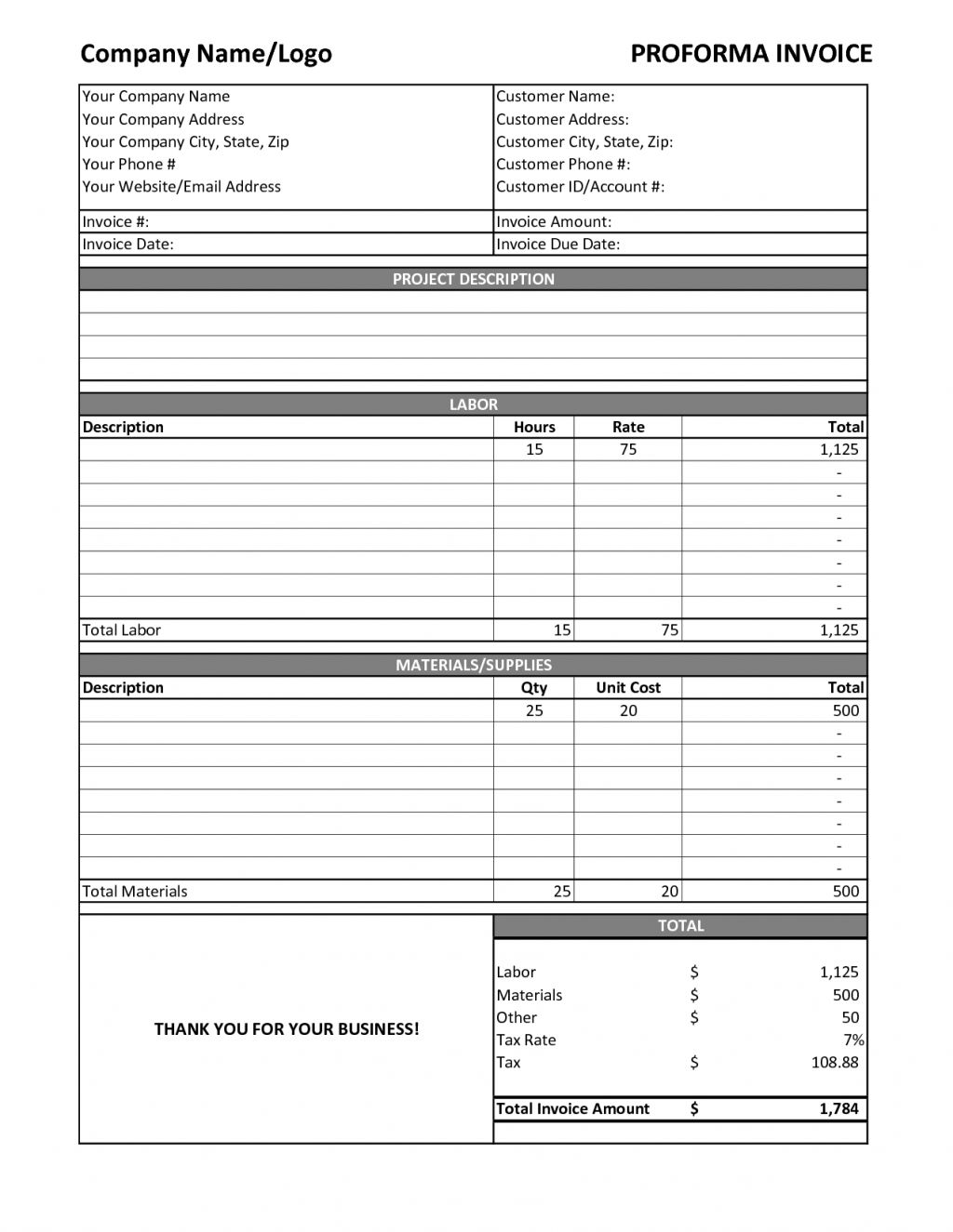 Labor Invoice Template Excel Labor Receipt Invoice Samples Labour Bill  Format In Excel Simple Invoice For