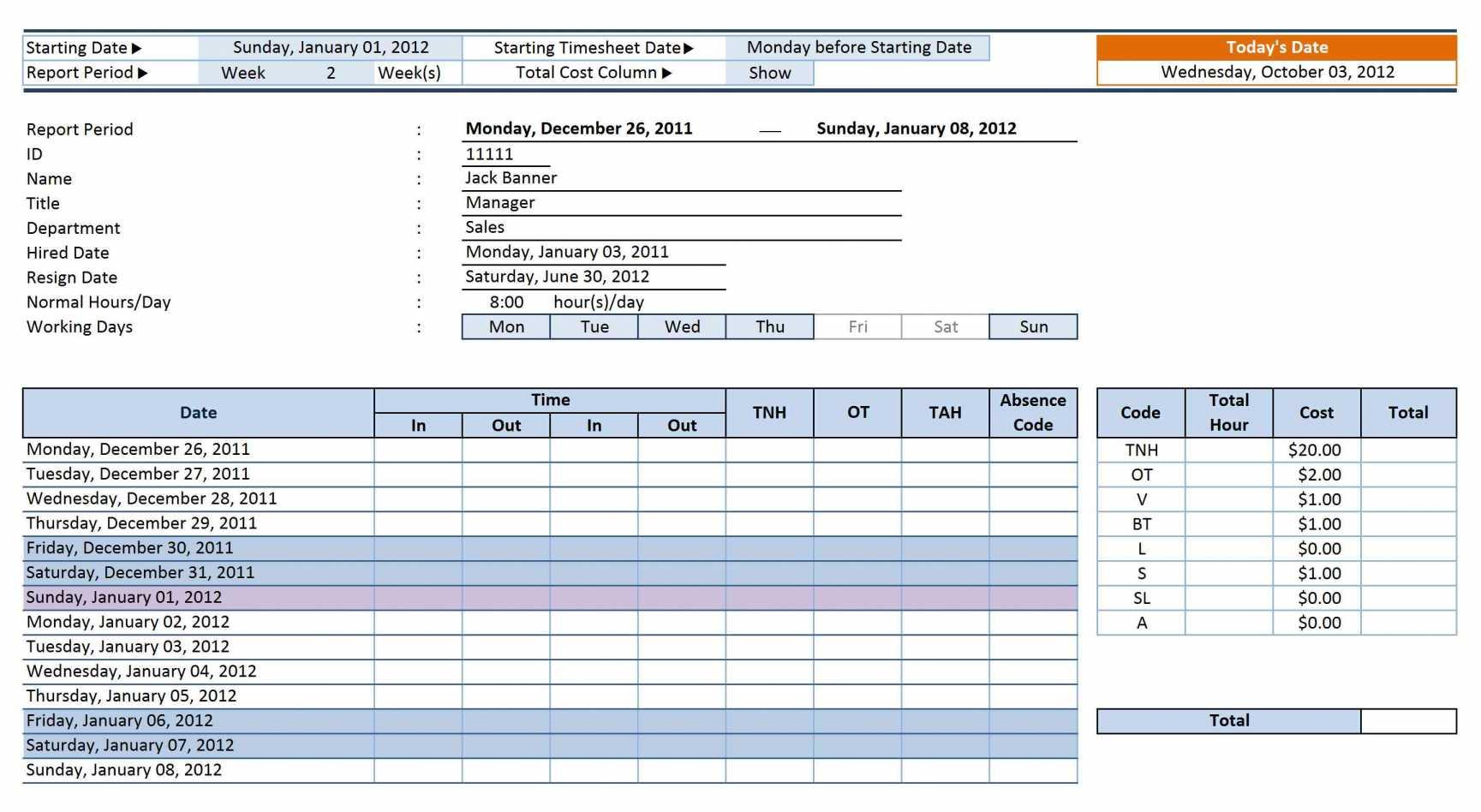 20 Fresh Employee Payroll Sheet Template
