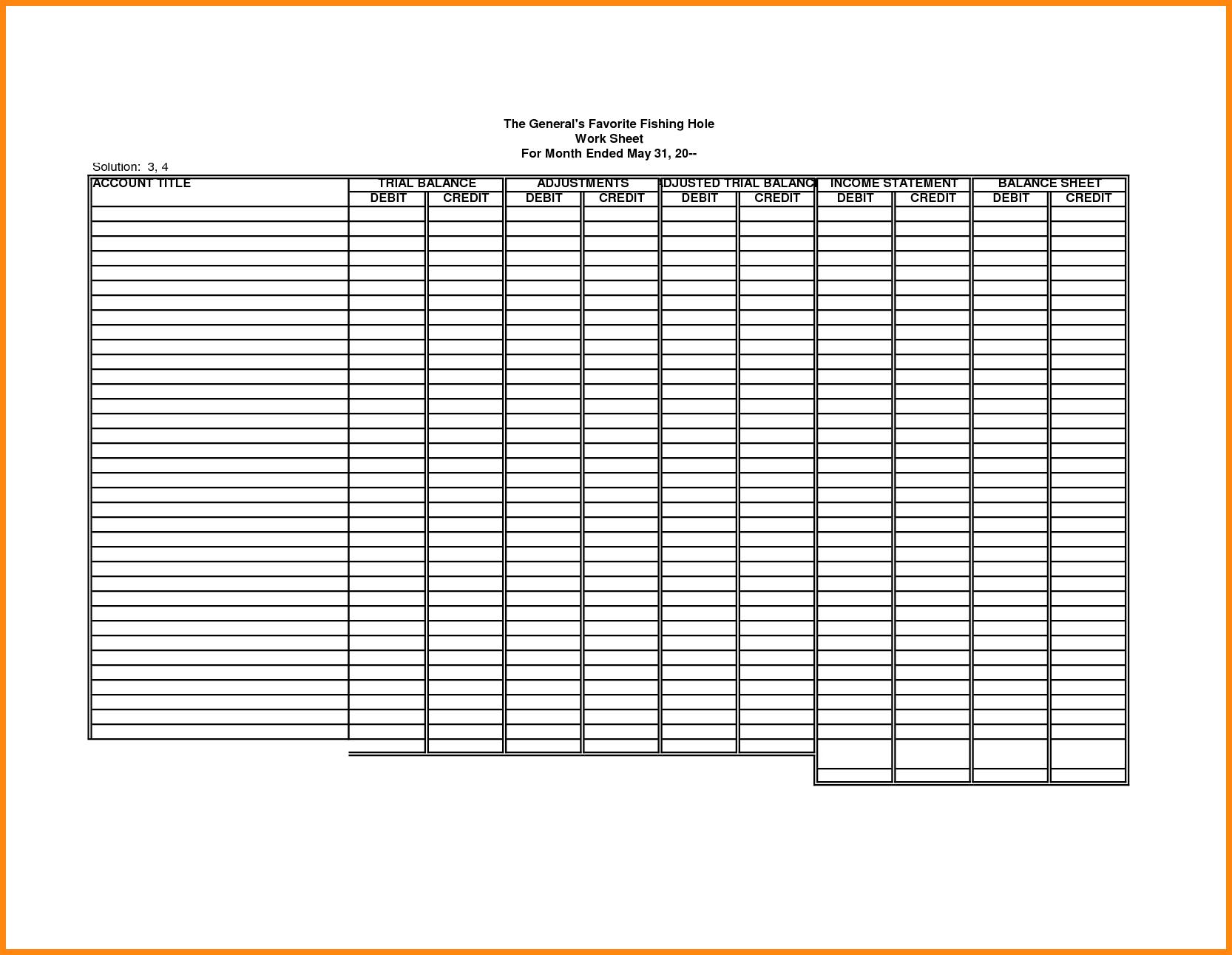 Blank Accounting Worksheet Template Filename