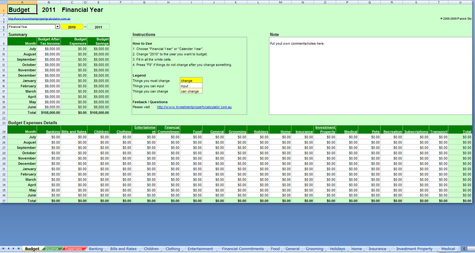 Monthly Budget Planner Excel Free Download Example Of Spreadshee