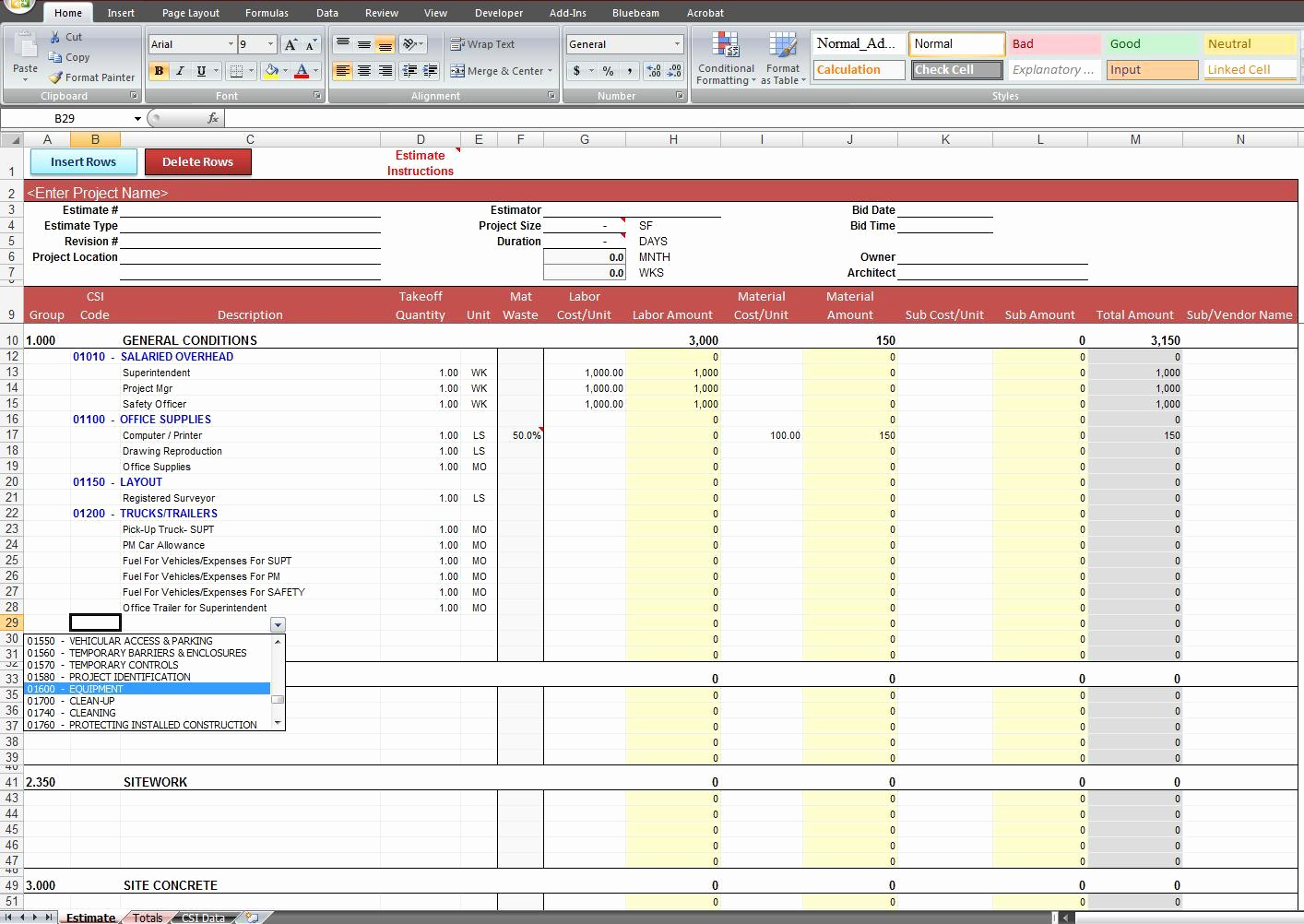 Construction Cost Estimate Template Excel New Construction