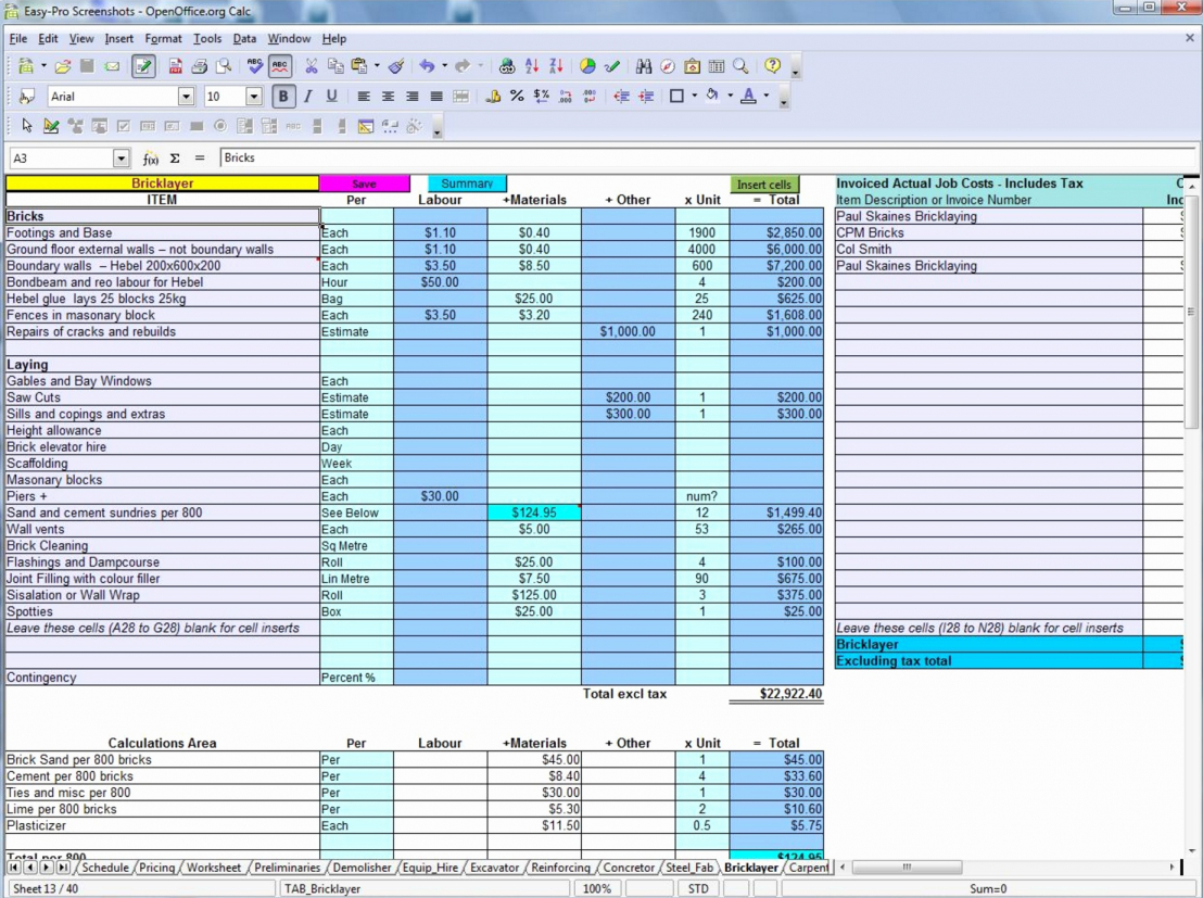 Commercial Construction Cost Estimate Spreadsheet Example Of Spreadshee