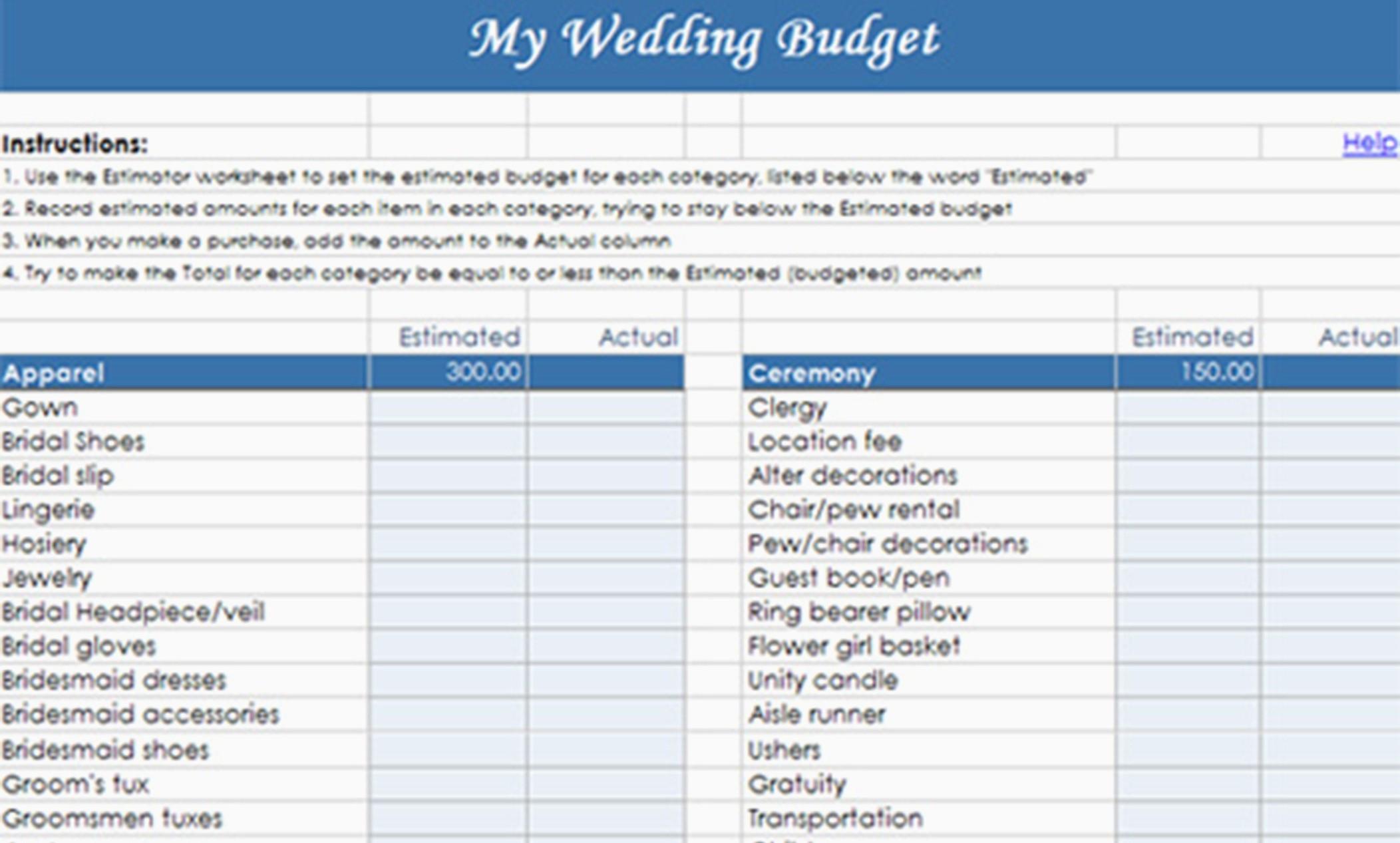 Destination Wedding Budget Spreadsheet