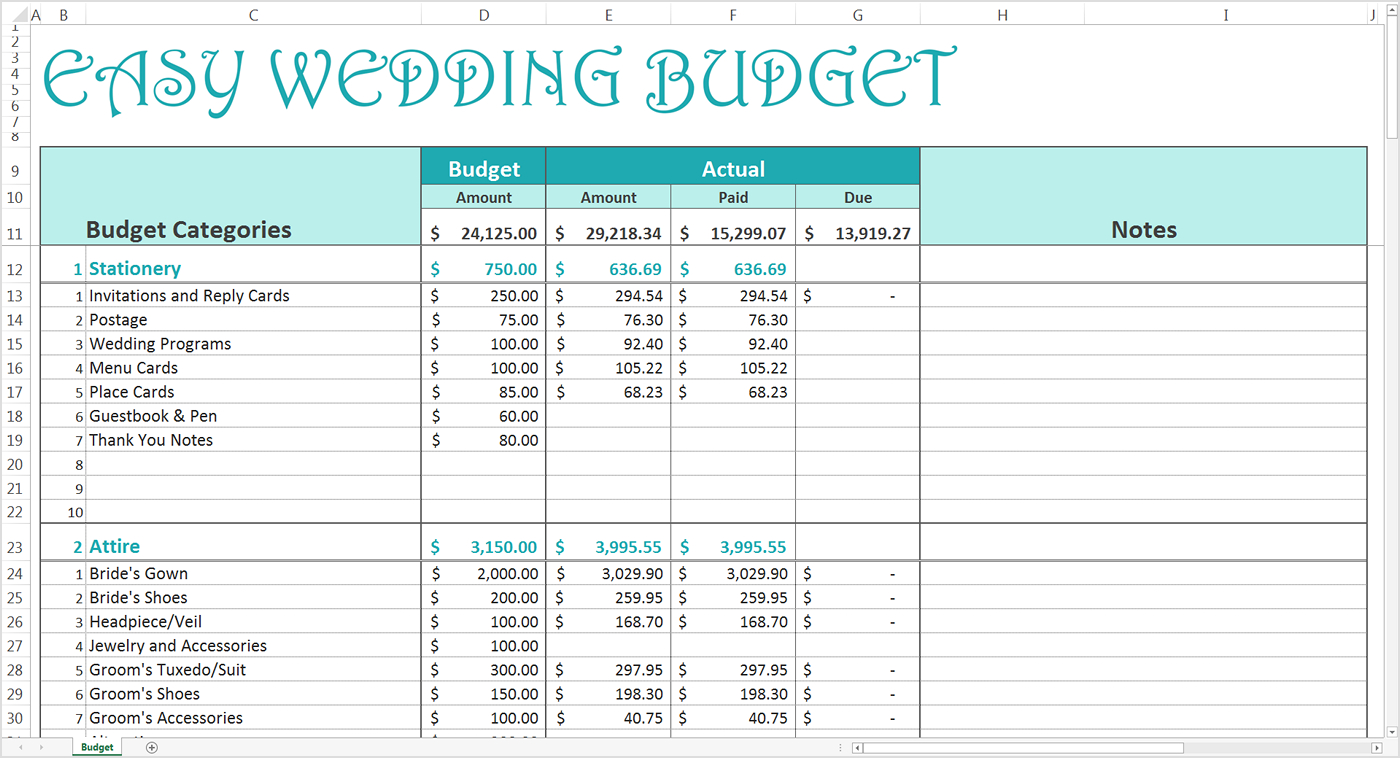 Budget Easy Spreadsheet Free