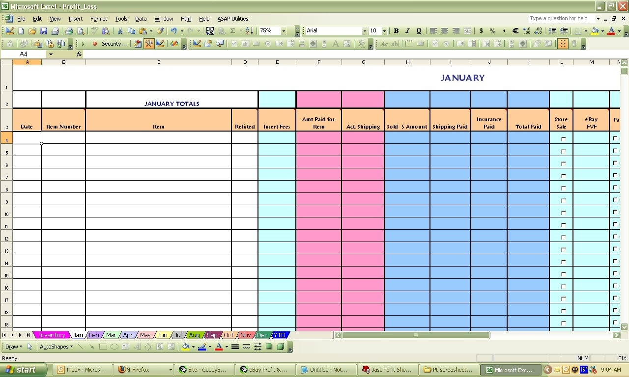 Ebay Bookkeeping Spreadsheet Free