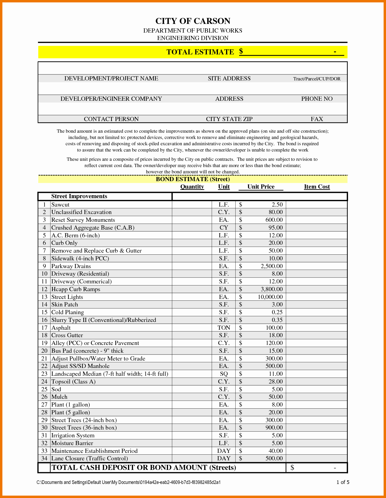 Excel Construction Estimate Template Download Free Example