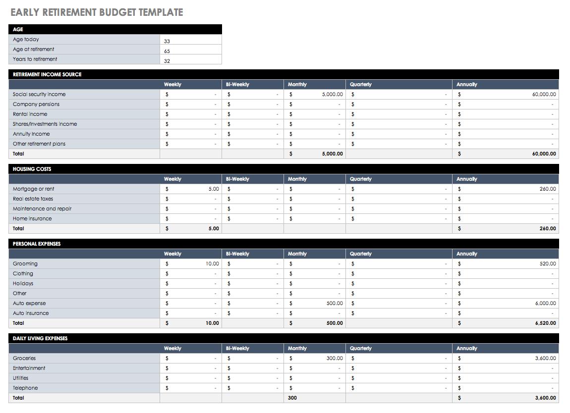 Budgeting Spreadsheet Template