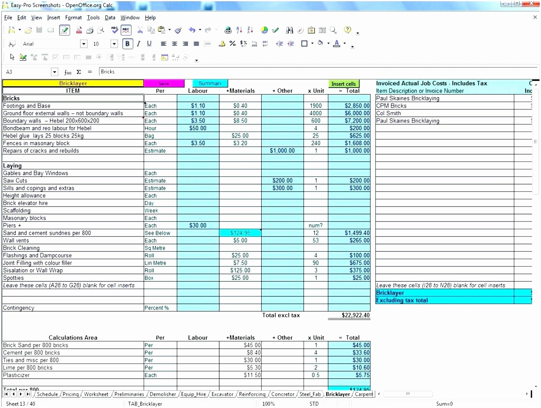 Free Excel Construction Templates Luxury Free Construction