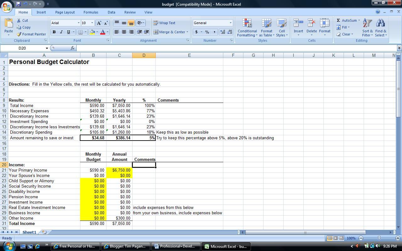 Monthly Budget Worksheet Excel