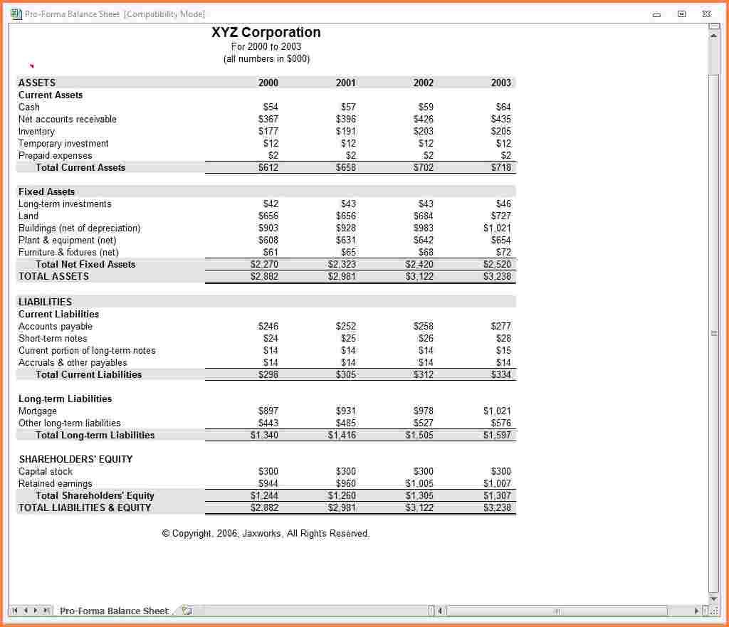 Pro Forma Income Statement Template Registration Lively