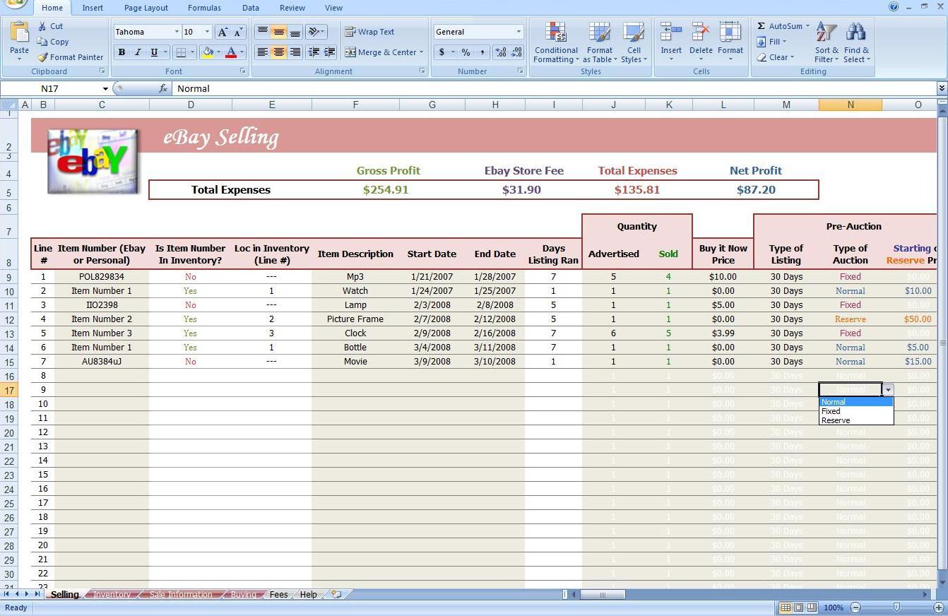 Ebay Bookkeeping Spreadsheet Free Bookkeeping Spreadshee