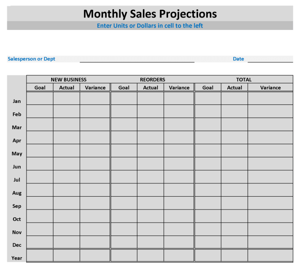 Sales Projection Template With Sales Projection Templates