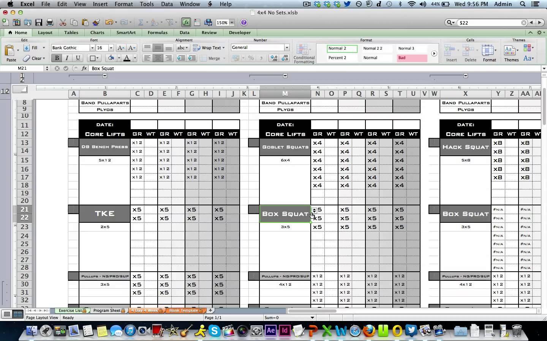 Weight Training Spreadsheet Template On Excel Spreadsheet