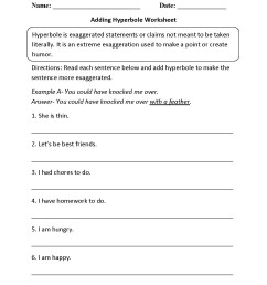 Hyperbole Worksheets Free   Printable Worksheets and Activities for  Teachers [ 1650 x 1275 Pixel ]