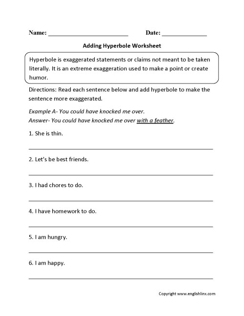 small resolution of Hyperbole Worksheets Free   Printable Worksheets and Activities for  Teachers