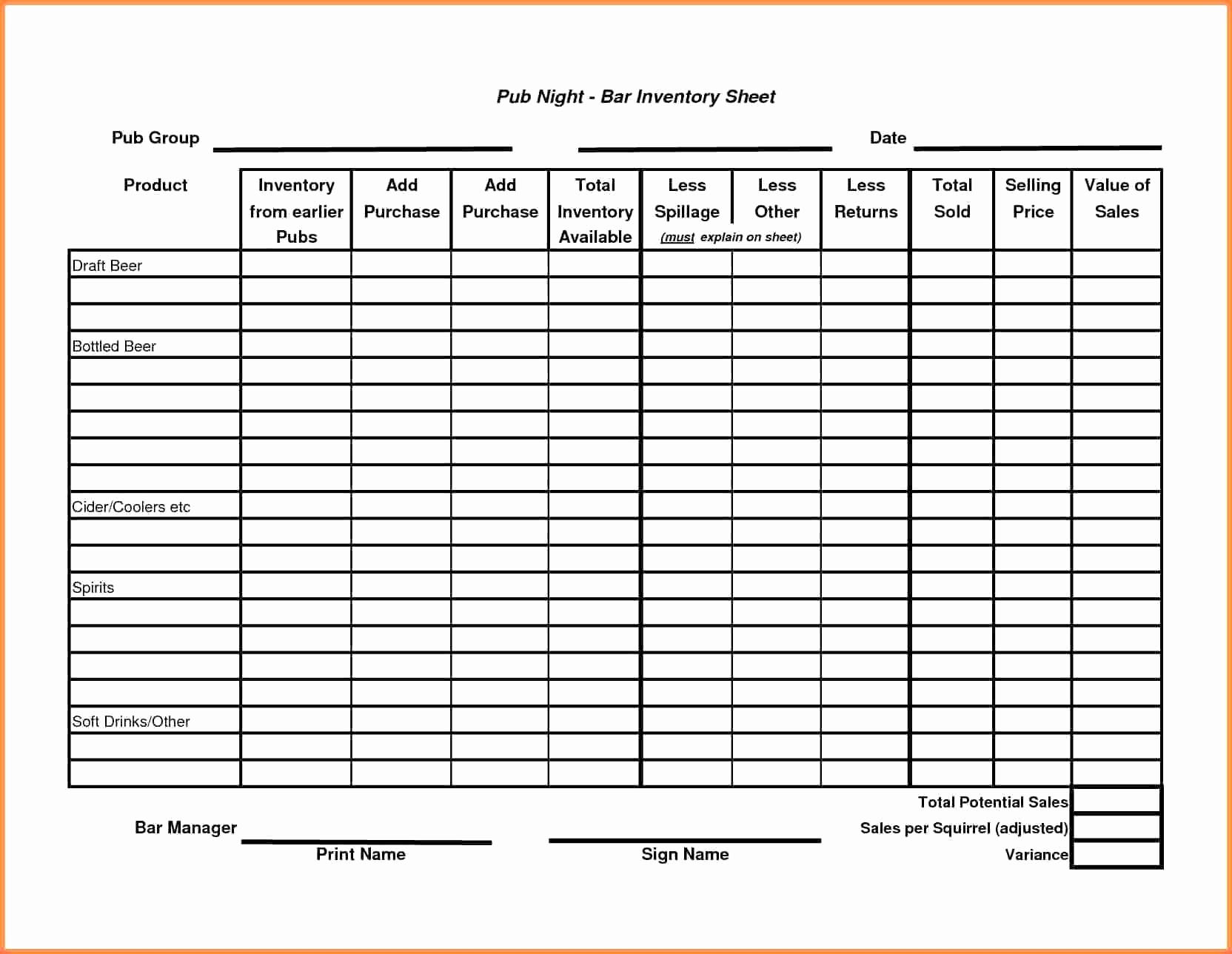 Beer Inventory Spreadsheet Lovely Liquor Inventory