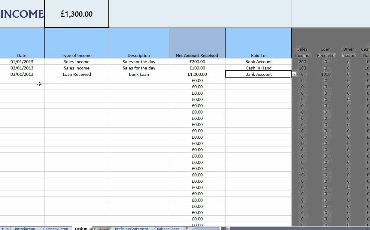 Bookkeeping For Self Employed Spreadsheet Spreadsheet
