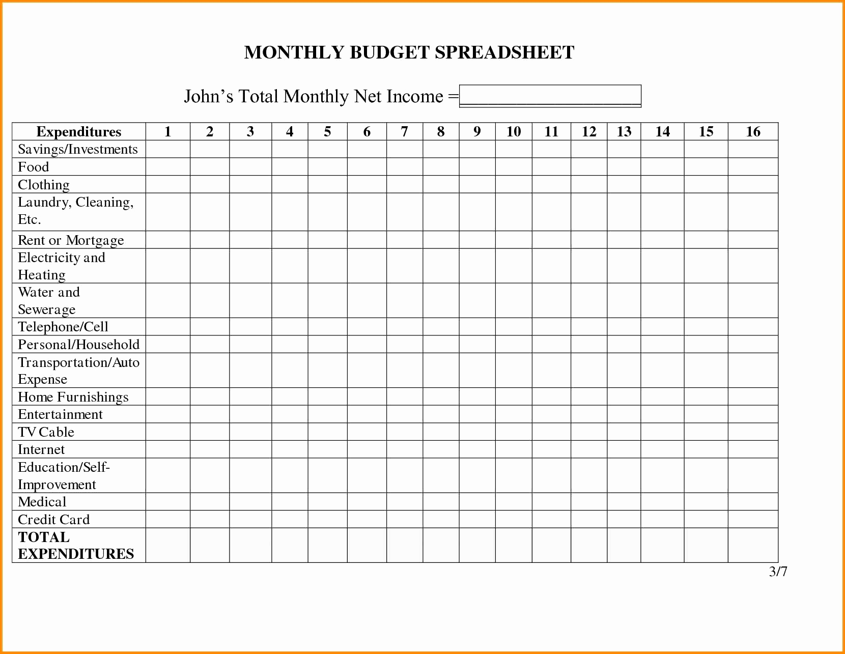 Business Income Worksheet Template Awesome Monthly In E