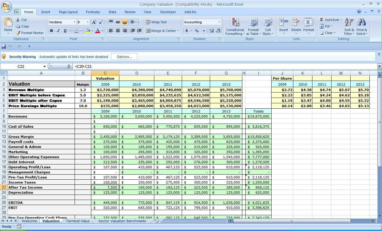 Company Valuation Excel Spreadsheet