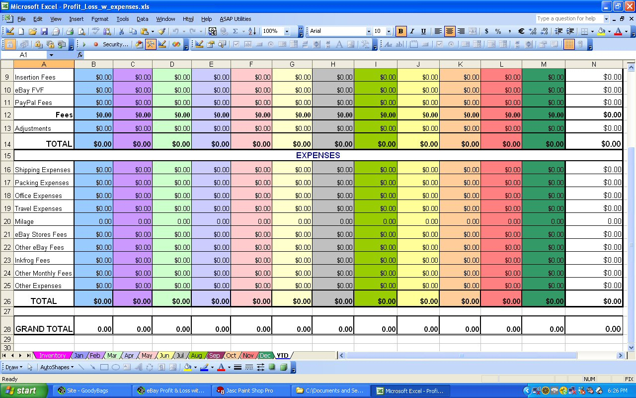 Profit And Expense Spreadsheet Expense Spreadshee Profit And Expense Spreadsheet