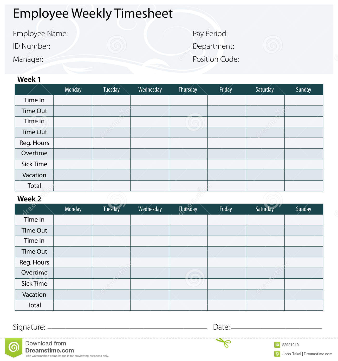 Employee Timesheet Template Stock Vector