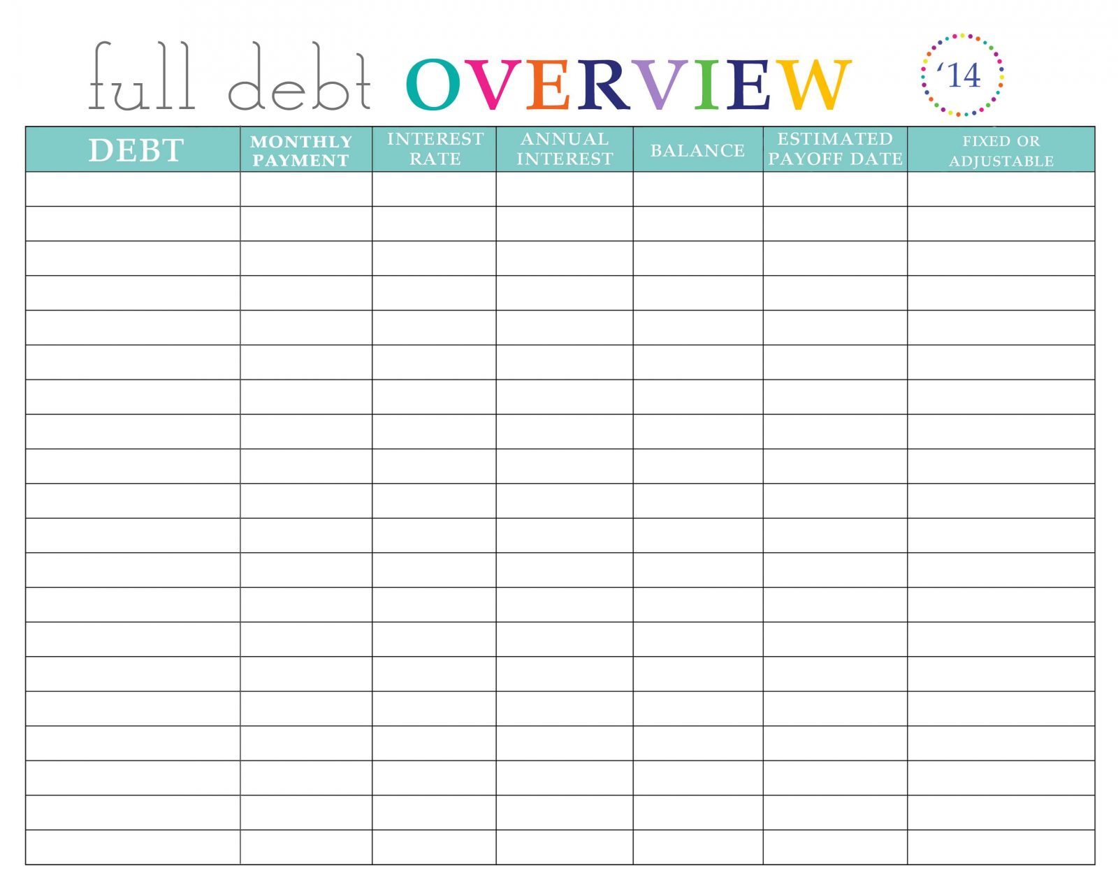 Debt Elimination Spreadsheet