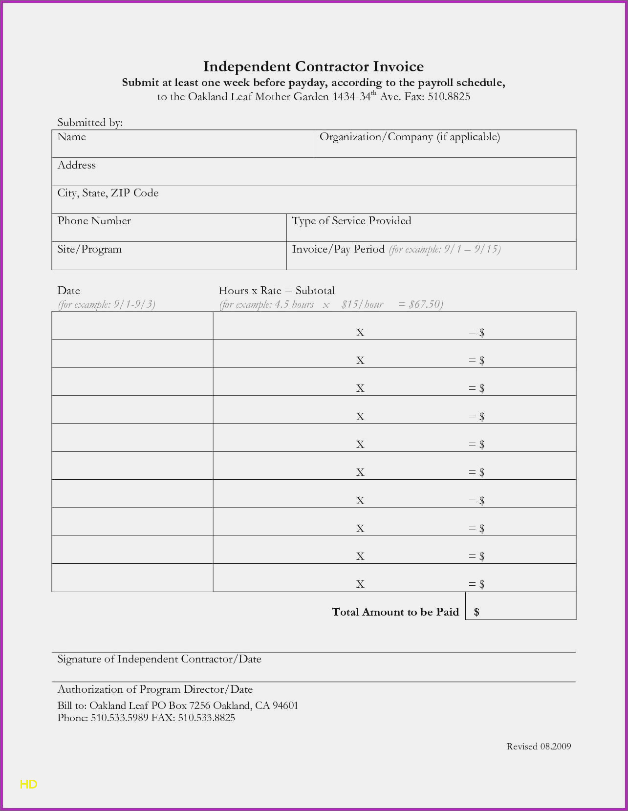 Independent Contractor Invoice Template Electrical Forms