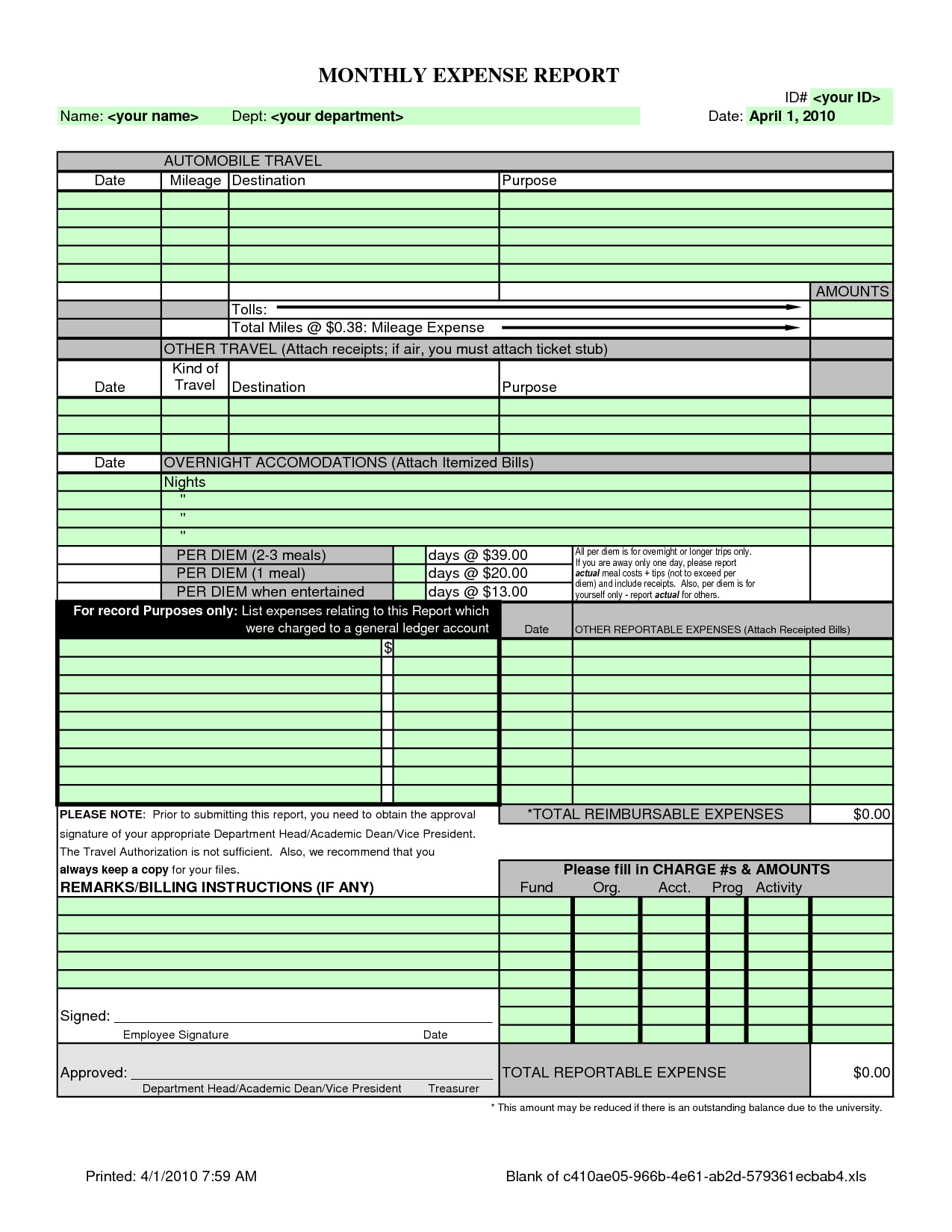 Business Expense List Template Business Spreadshee