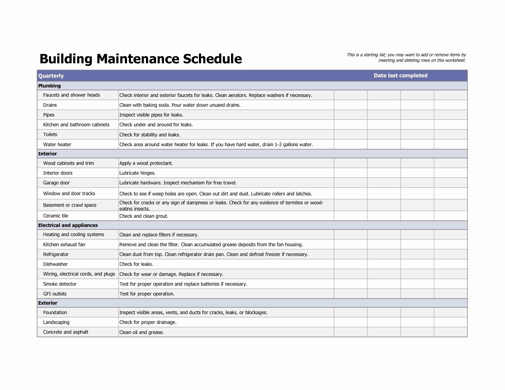 Preventive Maintenance Excel Template Lovely Spreadsheet