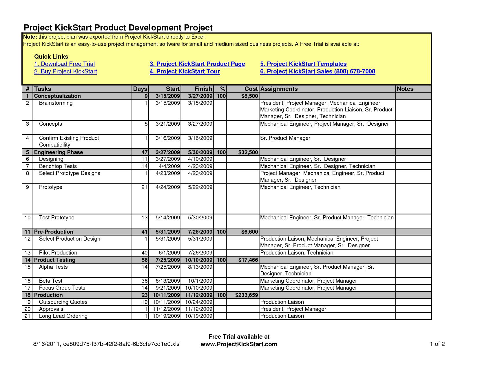 Project Timeline Excel Template Free Download Timeline