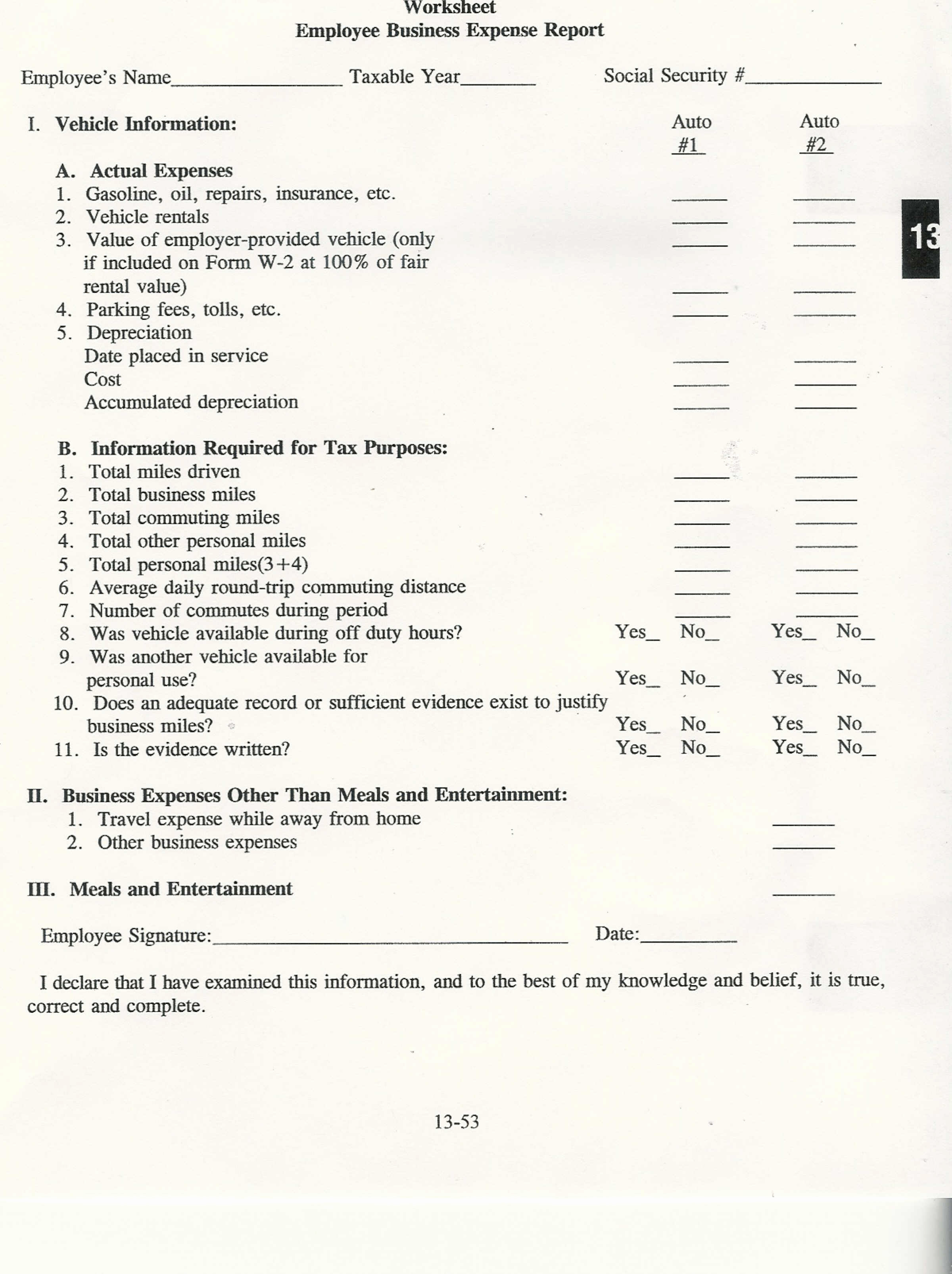 Questions Self Employed Tax Deduction Worksheet Annual 2