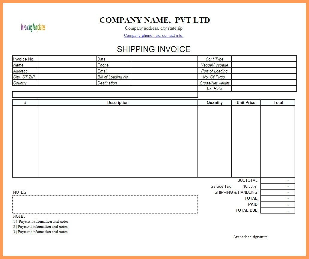 Shipping Invoice Template 1 Invoice Template For Limited