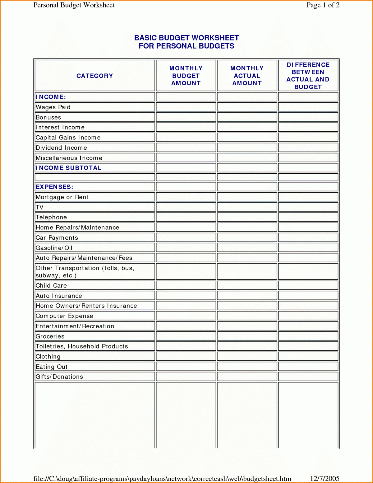 Small Business Budgeting Worksheets Budget Templates