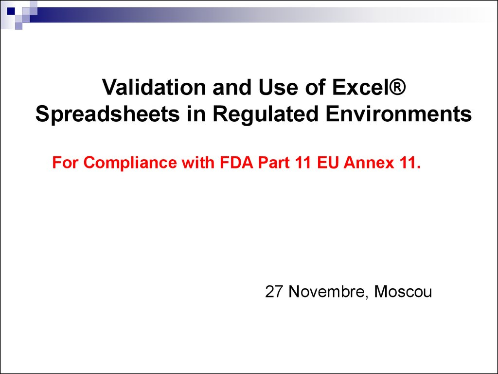 21 Cfr Part 11 Compliance For Excel Spreadsheets In