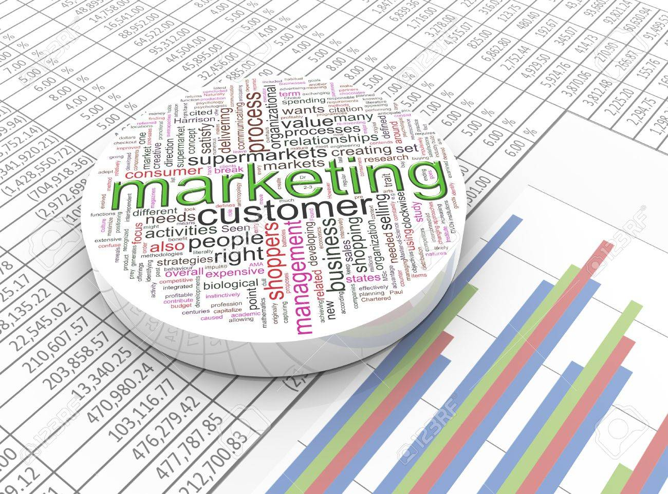 3d Spreadsheet For 3d Marketing Wordcloud On The