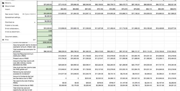 401K Spreadsheet Pertaining To Roth Ira Conversion