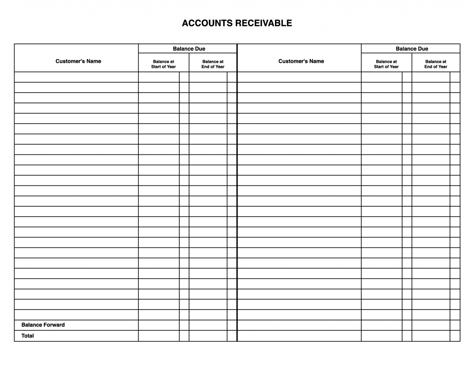 Accounts Receivable Spreadsheet