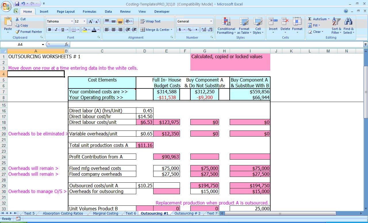 Activity Based Costing Spreadsheet Db Excel